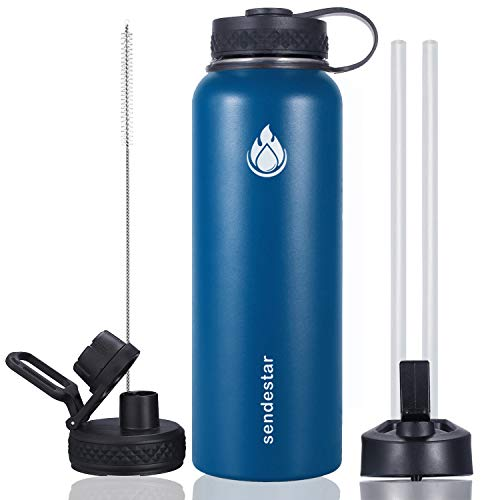 Sendestar 40 oz Double Wall Vacuum Insulated Leak Proof Stainless Steel Sports Water Bottle-Wide Mouth with Straw Lid & Flex Cap & Spout Lid (Cobalt)