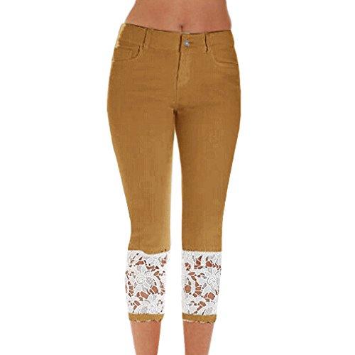 Pantaloni Donna Allungare Moda Sexy Skinny Marrone denim Jeans Slim Pizzo Estate UUrBqw40