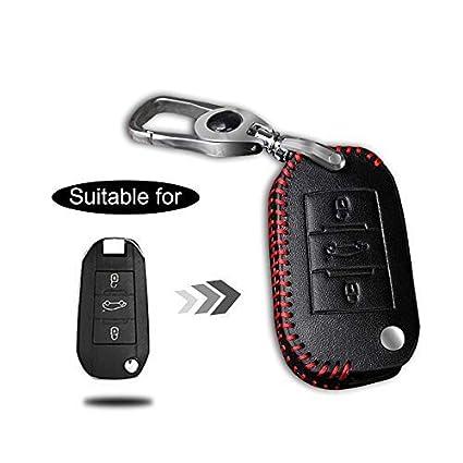 Carcasa Cuero para Llave Peugeot 3 Botones Llave Control Remoto Plegable línea roja con Llaveros 1 PC Modelo A