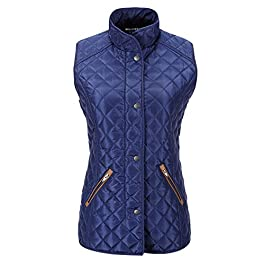 Bellivera Women's Quilted Lightweight Padding Jacket/Vest, Puffer Coat Cotton Filling