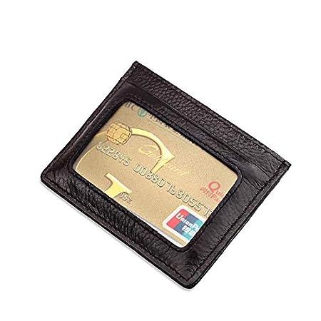 Slim RFID Blocking Card Holder Minimalist Leather Front Pocket Wallet for Women Men Black