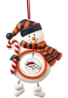 Denver Broncos Team Ball Ornament with Santa Hat