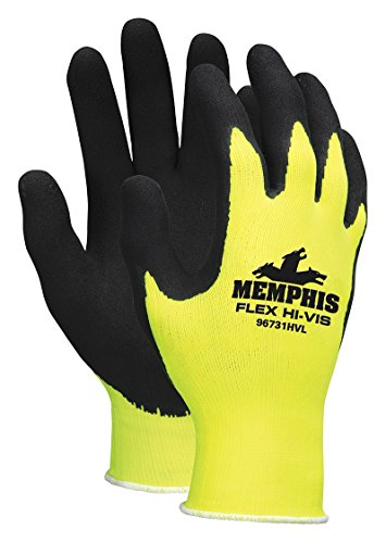 Memphis Glove 96731HVL Flex Highly Visible Seamless Nylon Knitted Memphis Gloves with Black Foam Latex Dipped Palm and Finger, Yellow/Black, Large, (Latex Dipped Work Gloves)
