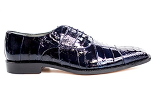 Belvedere Mare Genuine Ostrich and EEL Oxford Shoe 10.5 Navy