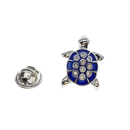 (Cuff-Arts Lapel Pin Badges Crystal Blue Turtle Pin Badges Brooch Buttons Pins with a Gift Box P10236)
