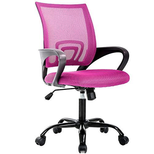 (BestOffice Ergonomic Office Desk Mesh Computer Back Support Modern Executive Task Rolling Swivel Chair for Women, Men, Pink)