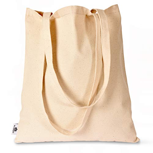 6 Pack - Cotton Canvas Tote Bags, for Shopping, Decorating, Crafting, Grocery, Gym, Beach - Natural Color and Large 10 Oz