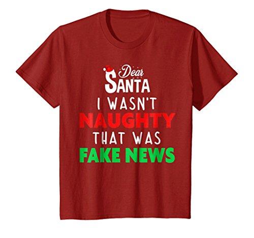 Kids Trump Christmas Pajamas Shirt - Dear Santa T Shirt Fake News 4 Cranberry