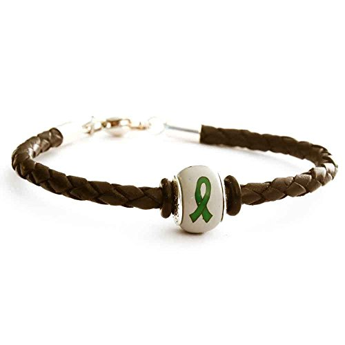 Green Awareness Ribbon Kidney Cancer Organ Donations Leukemia Cerebral Palsy Mental Health Charm Bead on Black Leather Braided Bracelet Sterling Clasp