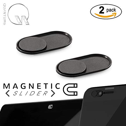 - QUANTUM EYE - MAGNETIC (Black) - NEWEST ULTRA THIN MAGNETIC SLIDER METAL WEBCAM COVER for iPhone Android Laptops Macbooks Tablets Smartphones -for PRIVACY and PROTECTS against camera hacks (2-PACK)