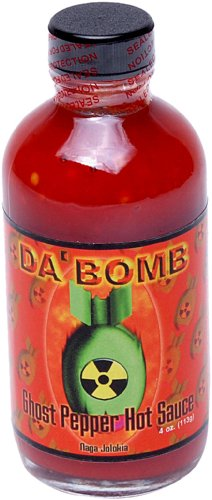 Da'Bomb Ghost Pepper Hot Sauce, 4-Ounce Bottles (Pack of 4)