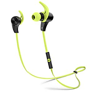 1byone Bluetooth 4.1 Wireless In-Ear Headphones, Sports Earphones with HD Stereo Sound & Modern, Sweat-Proof and Ergonomic Design, Black & Green