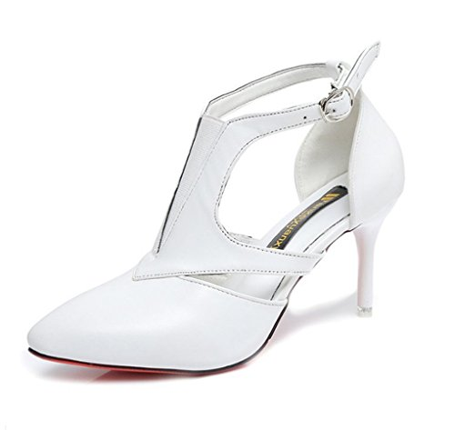 Spring Heel Pointed Blanco Mujer LBDX de Zapatos High Hollow Slim PAqw1
