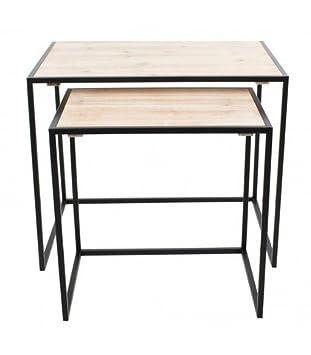 Económico set de 2 mesas nido para comedor o salon en color haya y ...