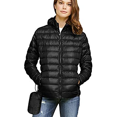 Lock and Love Women's Ultra Light Weight Packable Down Jacket with Removable Hoodie: Clothing