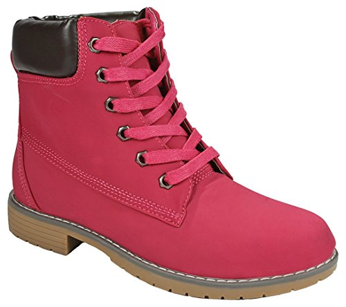Kids Girls Faux Nubuck Two Tone Lace Up Padded Collar Ankle Combat Work Boots - stylishcombatboots.com