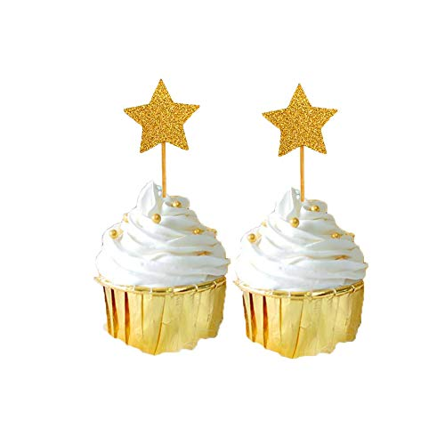 Star Cupcake Picks - Gold Star Cupcake Toppers 60 pcs Double Sides Glittery Stars for Baby shower Birthday Party Decorations Supply