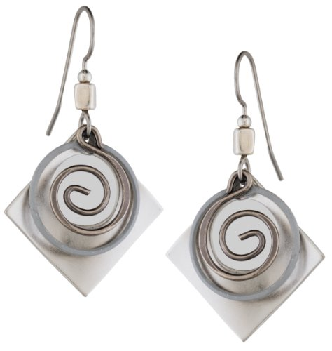 Silver Forest of Vermont Square Open Brushed Siilver Bead Dangle Earrings ne-0650 Handcrafted in the USA