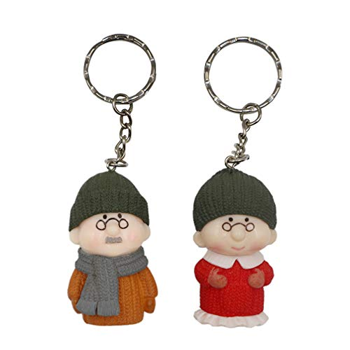Valentine Unique 3D Elderly Couple Keychain - DreamsEden Anime Key Chain Rings, Romantic Wedding Anniversary Birthday Gifts Keepsake with Box and Card (Style 2: Orange/Red)]()