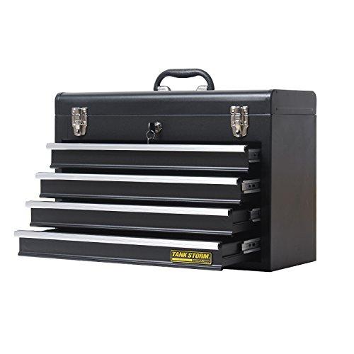 TANKSTORM Portable Steel Tool Chest with Drawers,20.6'' 4-Drawer Box Storage Organizer Cabinet Metal Toolbox,Black(X4) by TANKSTORM (Image #2)