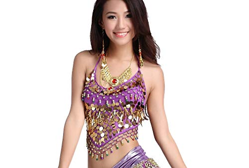 ZLTdream Belly Dance Top With Chest Pad bells &coins Purple, One Size -
