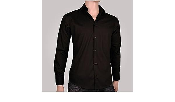 Ozoa Camisa para hombre negra - Camisa No Cintrée negro: Amazon.es ...