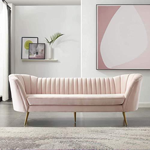 Modway EEI-3453-PNK Opportunity Vertical Channel Tufted Curved Performance Velvet Sofa, Pink (Sofa Velvet Buy)