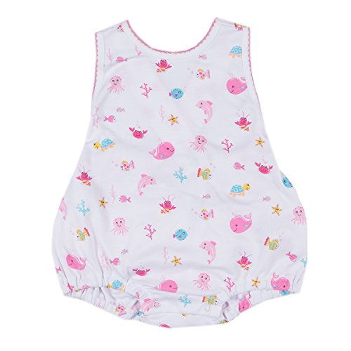 Kissy Kissy Baby Girls Ocean Treasures Print Ruffle Bubble - Fuchsia-9mos - Kissy Kissy Bubble