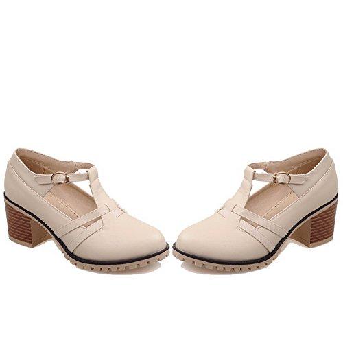 AllhqFashion Mujeres Sólido PU Tacón Medio Hebilla Puntera Redonda Zapatos de Tacón, Beige, 37
