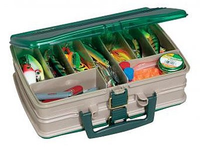 Plano Molding 1120-00 Tackle Box, Satchel-Style, 20-Compartment, Sandstone/Green - Quantity 3