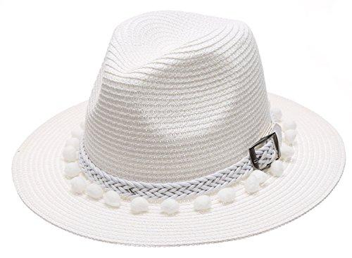 Women's Summer Panama Style Mid Brim Beach Sun Straw Hat with Pom Pom Belt Band.(White)