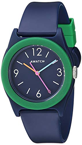(AWATCH by Armitron Unisex AW/1005NVY Dark Green Accented Matte Navy Blue Resin Strap Watch)