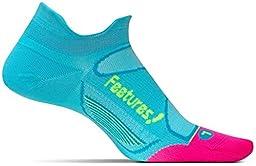 Feetures! Men\'s Elite Ultra Light No Show Tab, Sky Blue + Reflector, Small