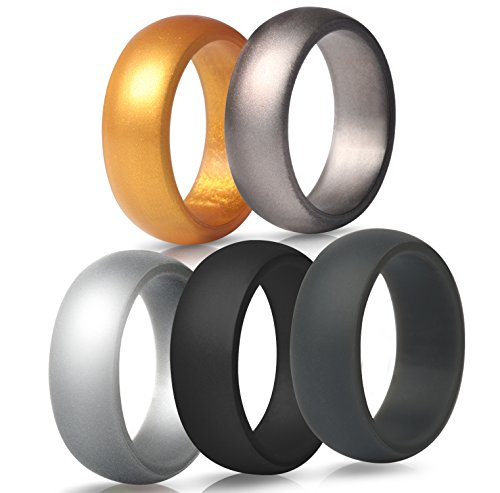 ThunderFit Mens Silicone Wedding Rings Wedding Bands - 5 Pack - 8.7mm Wide (2mm Thick) (Gold, Bronze, Silver, Dark Grey, Black, 8 (18.2mm))