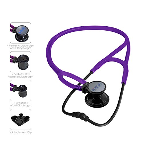 MDF ProCardial ERA Cardiology Lightweight Dual Head Stethoscope with Adult, Pediatric, and Infant-Neonatal convertible chestpiece -Free-Parts-for-Life/Lifetime Warranty- Black Out/Purple (MDF797X-B08) by MDF Instruments (Image #6)