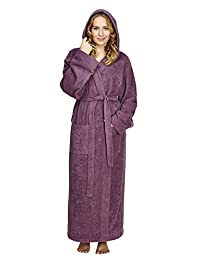 Arus Women's Pacific Style Full Length Hooded Turkish Cotton Bathrobe
