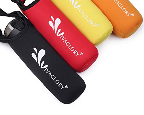 Vivaglory Neoprene Water Bottle Sling with Adjustable Wide Shoulder Strap, Great for Stainless Steel and Plastic Bottles, Sport and Energy Drinks, Classic - Over Bottles
