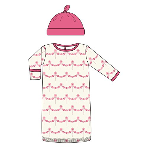 Kickee Pants Print Layette-Gown and Knot Hat Set- Natural Wallpaper, 0-3 Months