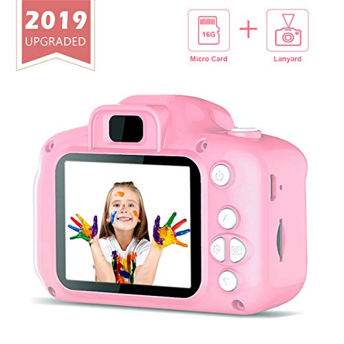 Mixi Kids Digital Video Camera Toys for Girls Age 3-8, Toddler Cameras Mini Cartoon Pink Rechargeable Camera Shockproof 8MP HD Toy Cameras Child Camcorder Include 16GB Memory Card (Best Toy Camera For Toddler)