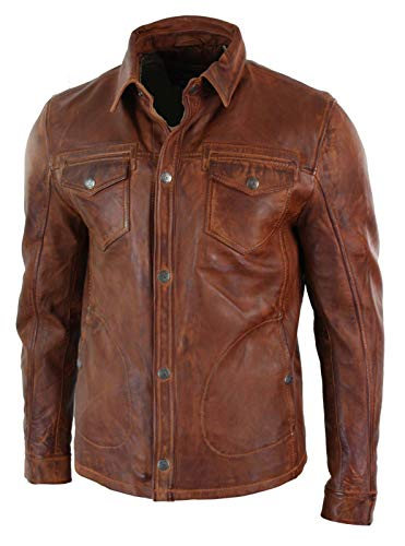 Biker Leather And Clothing - King Leathers Men's Real Lambskin Genuine Leather Shirt Stylish Biker Shirt KMS227 Brown