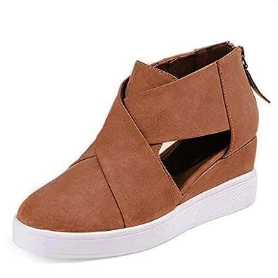 Xiakolaka Wedge Sneakers for Women Criss Cross Hidden Heel Wedge Shoes Brown