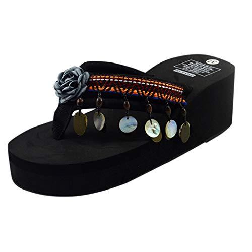 Sunyastor Women's Bohemian Sandals Bohemia Wedge Slippers Home Bathroom Beach Flip Flops Shoes Slip on Dress Beach Slipper Gray