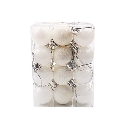 Nadition Christmas Ornament 30mm Christmas Xmas Tree Ball Bauble Hanging Home Party Ornament Decor (White) ()