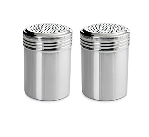 (New Star Foodservice 28478 Stainless Steel Dredge Shaker, 10-Ounce, Set of 2)