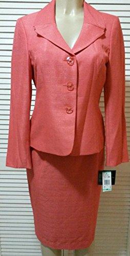 - Le Suit Women's Coral Cabana Jacquard Skirt Suit Set (14P, Coral)