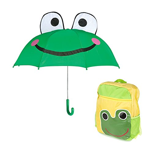 Frog Kids Rainy Day Umbrella - Childrens Backpack Animal Design (Frogs Rainy Day)