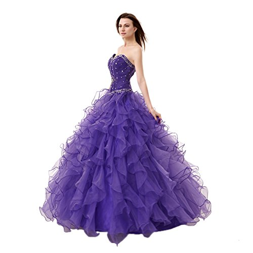 Engerla Women's Beading Sweetheart Ball Gown Tulle Layed Long Quinceanera Dress(US12) Purple
