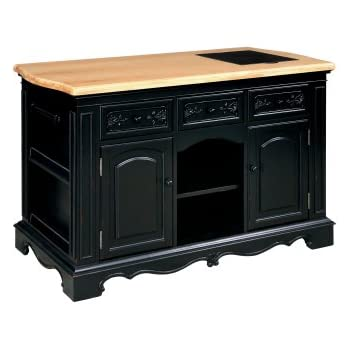 Lovely Powell Pennfield Kitchen Island, Black/Natural