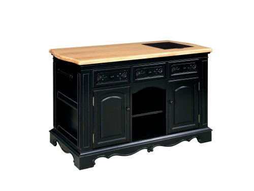 Powell Pennfield Kitchen Island, Black/Natural Noticeable