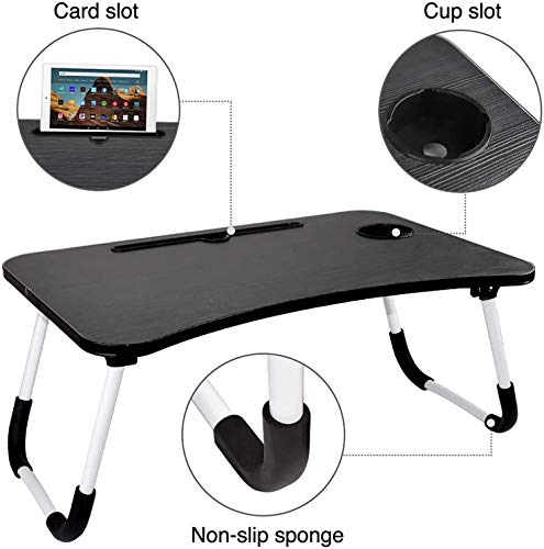 ALWOA Laptop Bed Tray Table, Ergonomic Wooden Laptop Desk with Tablet Slot and Cup Slot Breakfast Folding Desk, Portable Food Trays for Bed Home Office, on Bed/Couch/Sofa(Black)